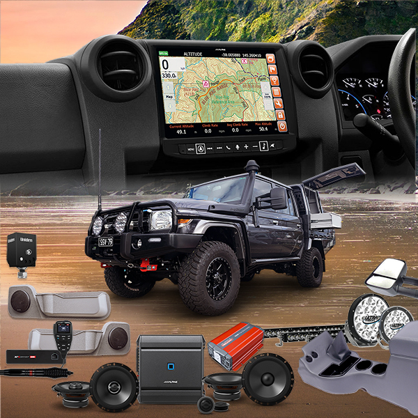 Head Unit, Speakers, Reverse camera with front and Rear door pods to suit 76-79 Series Landcruiser