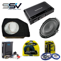 Subwoofer Fibreglass 10inch Sub Box APS10D Subwoofer RCA Interconnect STI129 Complete Wiring KIT STK8 to suit Ford Ranger